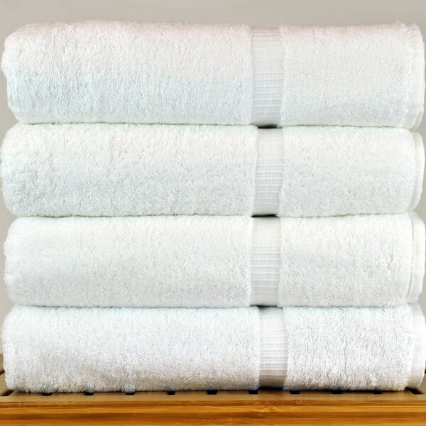 4 Piece 100% Cotton Bath Towel Set (Set of 4) by The Twillery Co.